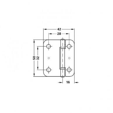 Centrinis lankstas stumdomoms durims, 50x42 mm, cinkuotas 2