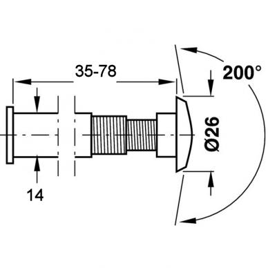 Durų akutė 35 - 78 mm Ø14 2